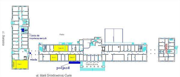 Położenie windy, podjazdu i toalety